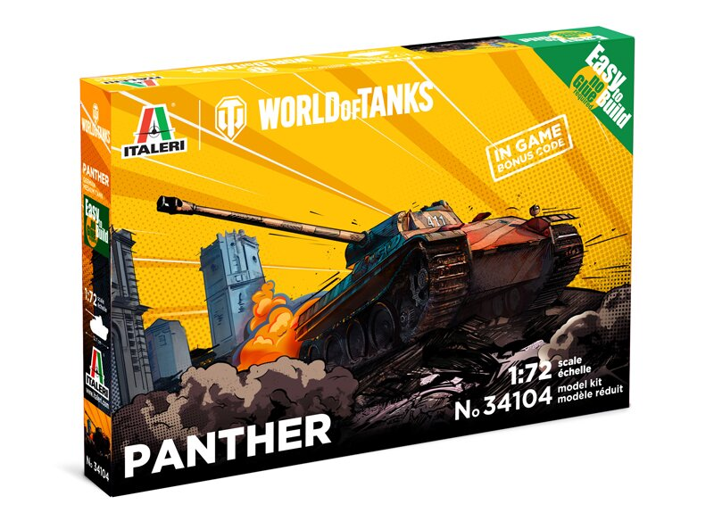 1:72 WORLD OF TANKS: PANTHER FAST ASSEMBLY Italeri 34104